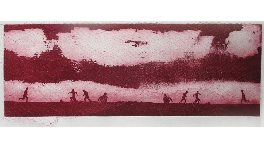 Marion Manifold,The Games Boys Play - Iraq (Pink),aquatint, etching, 18 x 49.3 cm, courtesy the artist and Queenscliff Gallery