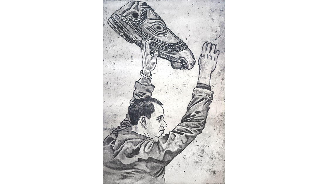 Steve Lopes,Figure With Horse Icon,drypoint, etching, 70 x 50 cm, courtesy the artist and Queenscliff Gallery