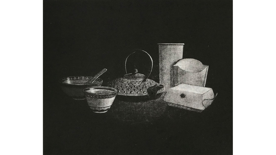 Terence Barrett,Covid-19 Mealtime compromise, 3-10mezzotint,20  x 23 cm, courtesy the artist and Queenscliff Gallery