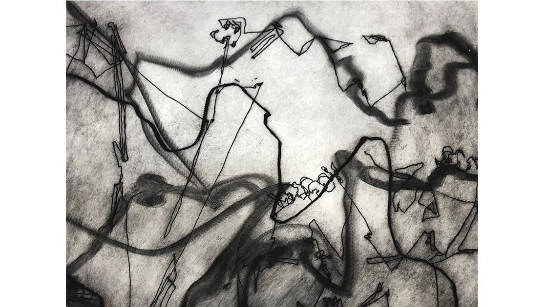 George Kennedy,Desire Lines,drypoint,56 x 76 cm, courtesy the artist and Queenscliff Gallery