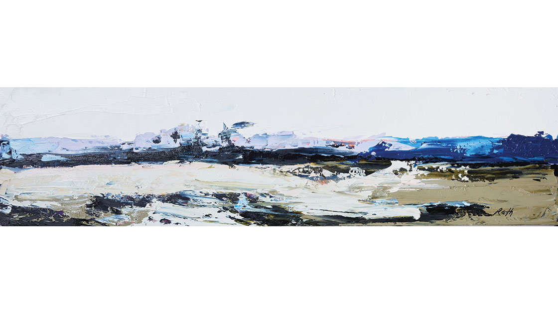 """""""A wide expanse of plain,"""" 2021, oil on wood, 30 x 120 cm, courtesy the artist and Muswellbrook Regional Arts Centre, photo Ryan Jenkins"""