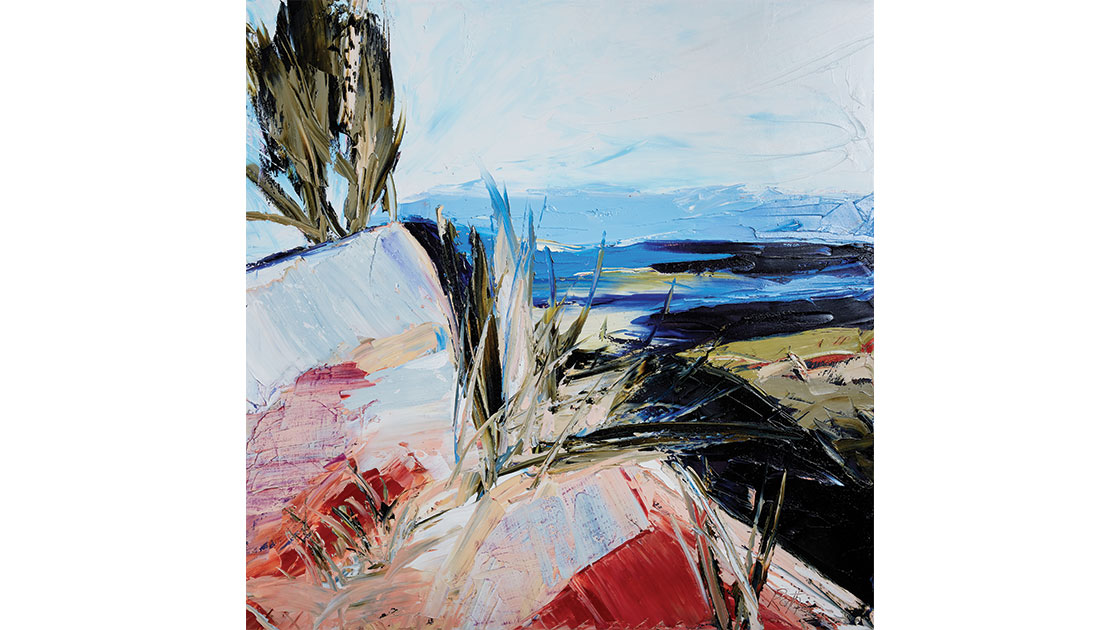 """""""Rocky heights and walls of stone I,"""" 2021, oil on canvas, 120 x 120 cm, courtesy the artist and Muswellbrook Regional Arts Centre, photo Ryan Jenkins"""