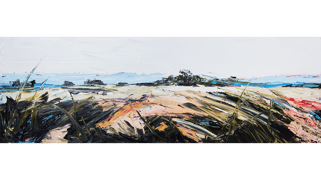 """""""Waving Grasses, Yellow Billy Ridge,"""" 2021, oil on canvas, 50 x 152 cm, courtesy the artist and Muswellbrook regional Arts Centre, photo Ryan Jenkins"""