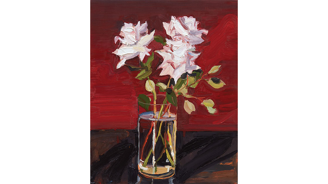 Roses on red, 2021, oil on board 50.0 x 40.0 cm, courtesy Jan Murphy Gallery