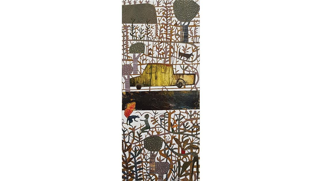 The Good Samaritan, 2021, oil on board, 25 x 11 cm, courtesy the artist and Anthea Polson Art