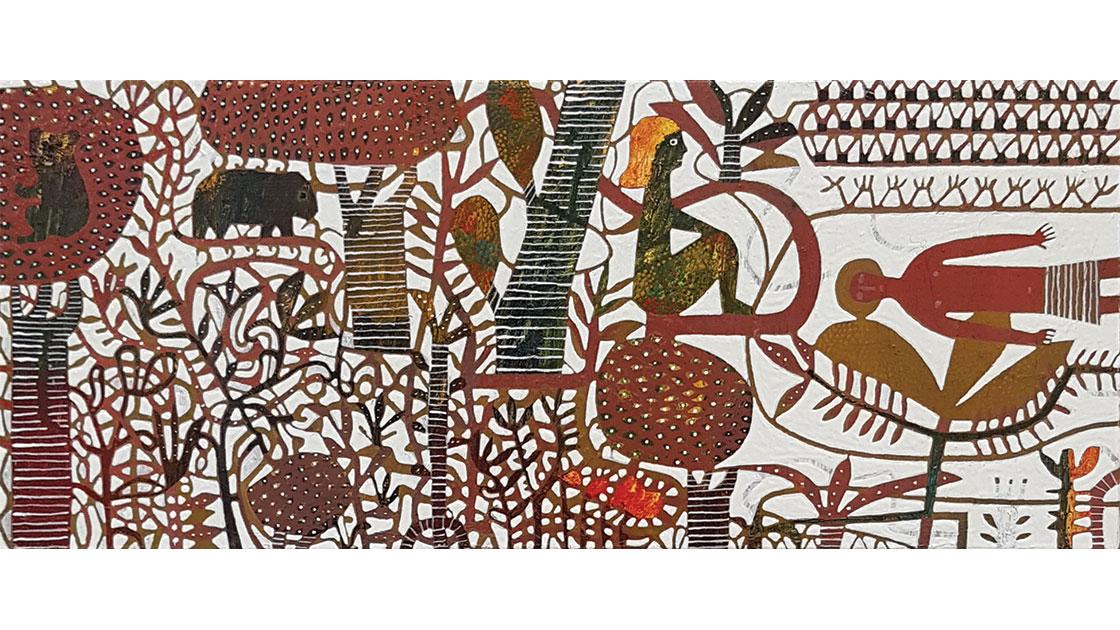 Where Rainforest Meets Beach, 2021, oil on board, 11.5 x 27 cm, courtesy the artist and Anthea Polson Art