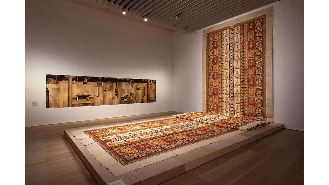 """""""Seen Along the Avenue"""" (from the series """"Ko e Hala Hangatonu: The Straight Path""""), 2015-2016, earth pigments and natural dyes on ngatu (barkcloth), 2,400 x 380 cm, installation view at Another Energy: Power to Continue Challenging – 16 Women Artists from around the World, Mori Art Museum, Tokyo, 2020, photo Furukawa Yuya, courtesy Mori Art Museum, Tokyo"""