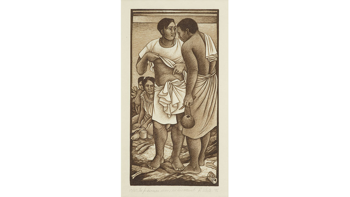 """""""The fisherman shows us his wound,"""" 1995, from the series """"The fisherman loses his way,"""" woodcut, 28 × 14 cm (image), collection Museum of New Zealand Te Papa Tongarewa"""