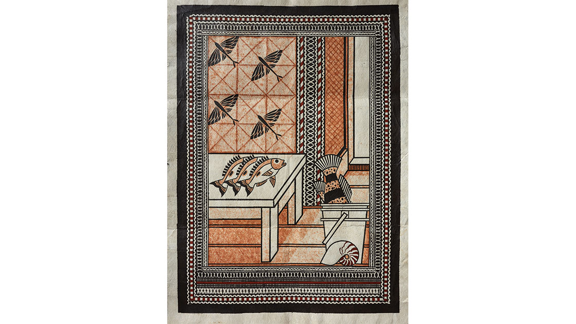 """The Fisherman Returns to Banaras,"" 2017, barkcloth, earth pigments, natural dye, 100 x 72 cm"