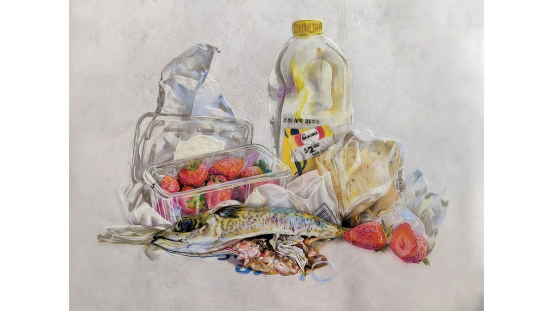 """Dannielle Thorman, """"Use by date,"""" 2021, polychromo pencils on found plastic, 50 x 55cm, courtesy the artist and Coffs Harbour Regional Gallery"""