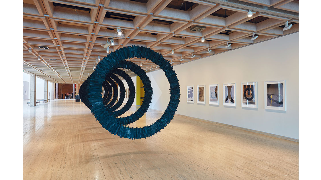 Wona Bae and Charlie Lawler, Regenerator, 2021, charcoal, glue, steel, sound, installation dimensions variable, photo Art Gallery of New South Wales, Diana Panuccio, courtesy the artists and Art Gallery of New South Wales