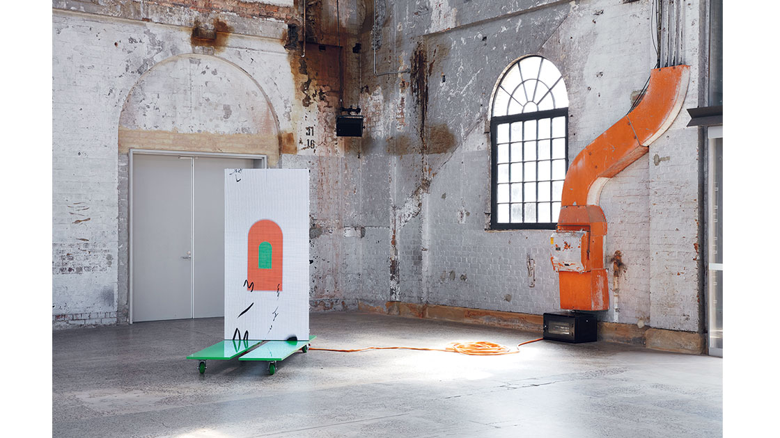 """Agatha Gothe-Snape and Andrew Burrell, Every Act of Reading Performs the Work, 2019-21, installation view """"The National 2021: New Australian Art,"""" Carriageworks, photo Zan Wimberley"""