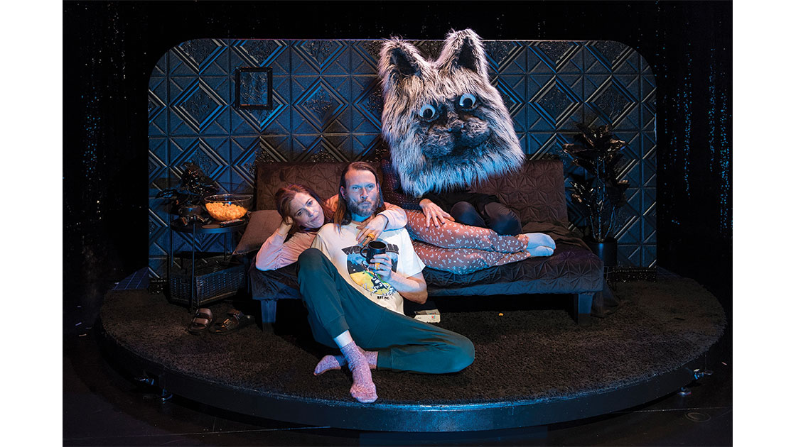 Brendan Ewing, Sarah Nelson, and Jacob Lehrer (as cat), photographed by Christophe Canato