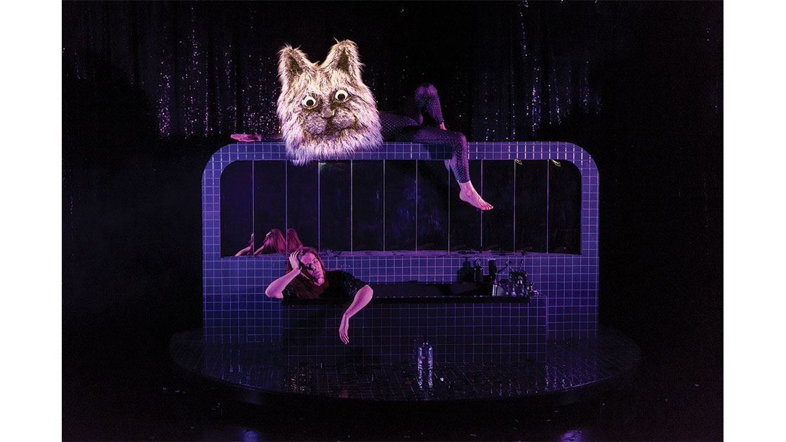 Sarah Nelson and Jacob Lehrer (as cat), photographed by Christophe Canato