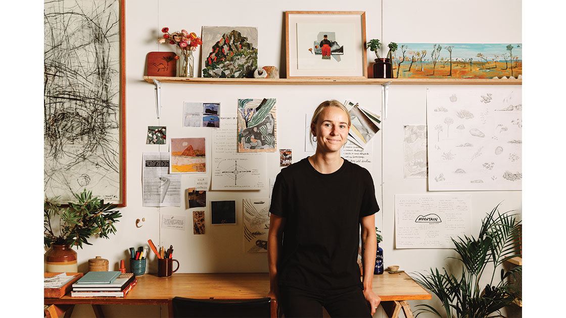 Grey in her studio, photographed by Eden Meure