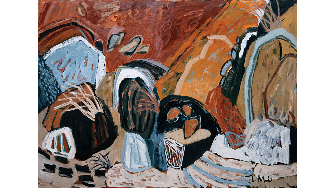 """Hop, Skip, Jump,"" 2021 oil on board 90 x 122 cm, courtesy Despard Gallery"